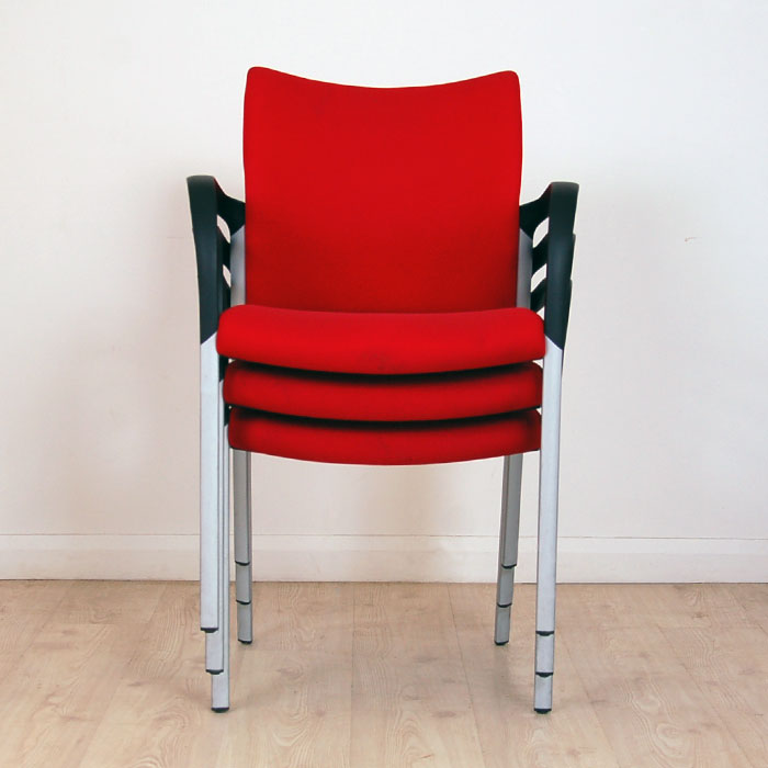 padded folding chairs uk chair bed singapore senator trillipse meeting | red with fixed arms